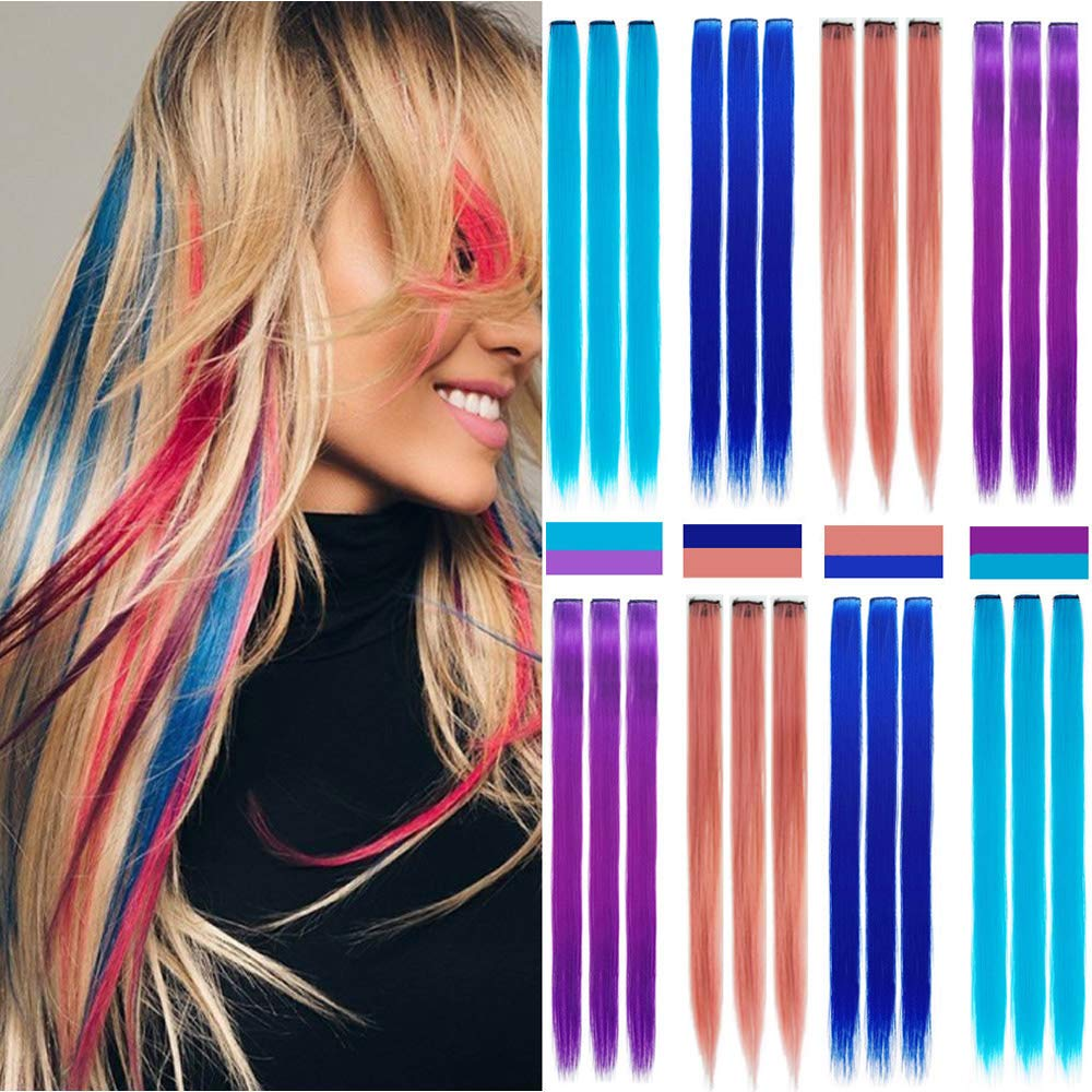 """Colored Clip in Hair Extensions 24 PCS Hair Extensions Colorful 22"""" Colored Clip in for Kids Multi-Colors Party Highlights Hairpieces(Pink,Purple,Teal Blue,Sapphire) (4 colors 24PCS)"""