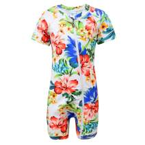 qyqkfly Baby/Little Girls Short Sleeve Full Zip Sun Protection One Piece Swimsuit(FBA)