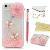 iPhone SE Case,iPhone 5S Case,iPhone 5 Case - Mavis's Diary 3D Bling Handmade Pink Love Heart Flowing Liquid with Flower Butterfly Shiny Diamond Clear Hard Cover with Cute Dust Plug & Crystal Pen