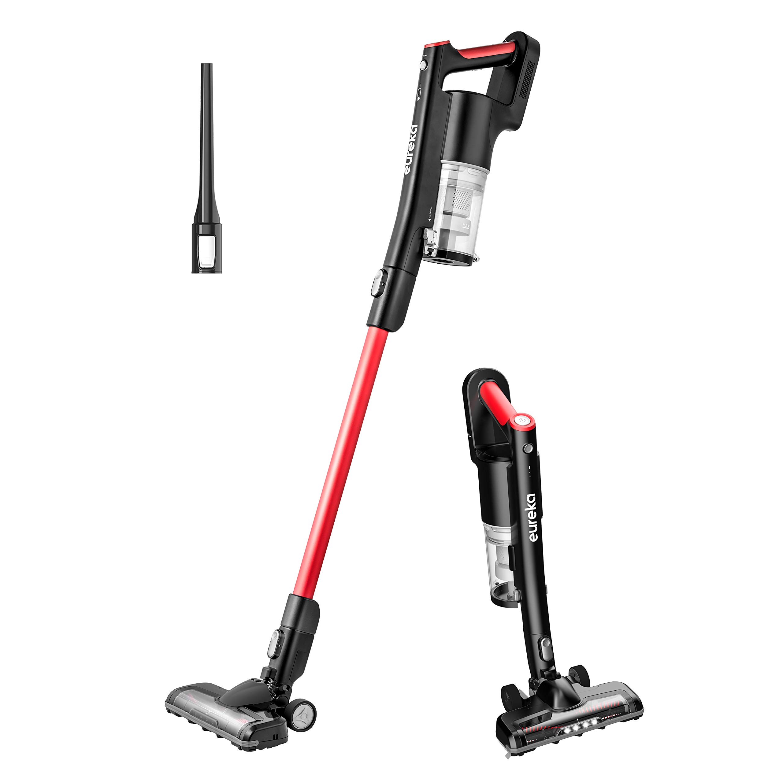 EUREKA RapidClean Pro Lightweight Cordless Vacuum Cleaner, High Efficiency Powerful Digital Motor LED Headlights, Convenient Stick and Handheld Vac, Basic Red