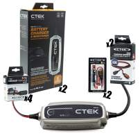 CTEK (40-206) MXS 5.0-12 Volt Battery Charger and Maintainer with Multi Car Garage Kit