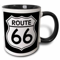 3dRose Route 66 Two Tone Mug, 11 oz, Black/White