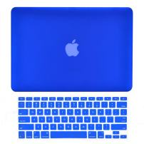 """TOP CASE - 2 in 1 Signature Bundle Rubberized Hard Case and Keyboard Cover ONLY Compatible MacBook Air 13"""" A1369 & A1466 (Older Version, Release 2010-2017) - Royal Blue"""