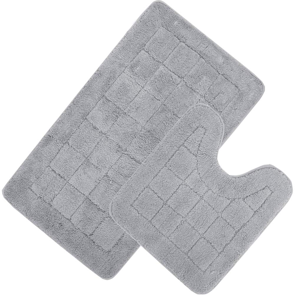 "HEBE Bath Rug Set 2 Piece Bathroom Contour Rug Toilet Mat Sets Non Slip Microfiber Bath Shower Mat U-Shaped Toilet Rug Combo Set, Machine Washable(21""x34""+20""x20"", Grey)"