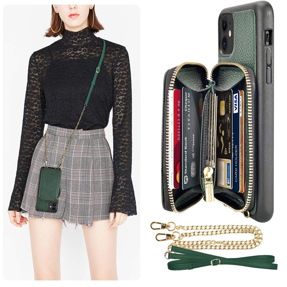 iPhone 11 Wallet Case, LAMEEKU iPhone 11 Card Holder Case, LAMEEKU Zipper Leather Case with Credit Card Slot Crossbody Chain Strap, Protective Phone Cover for iPhone 11 6.1'' (2019) - Midnight Green