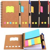 TOODOO 4 Packs Spiral Notebook Lined Notepad with Pen in Holder and Sticky Notes, Page Marker Colored Index Tabs Flags (Brown, Black Cover, Style 2)
