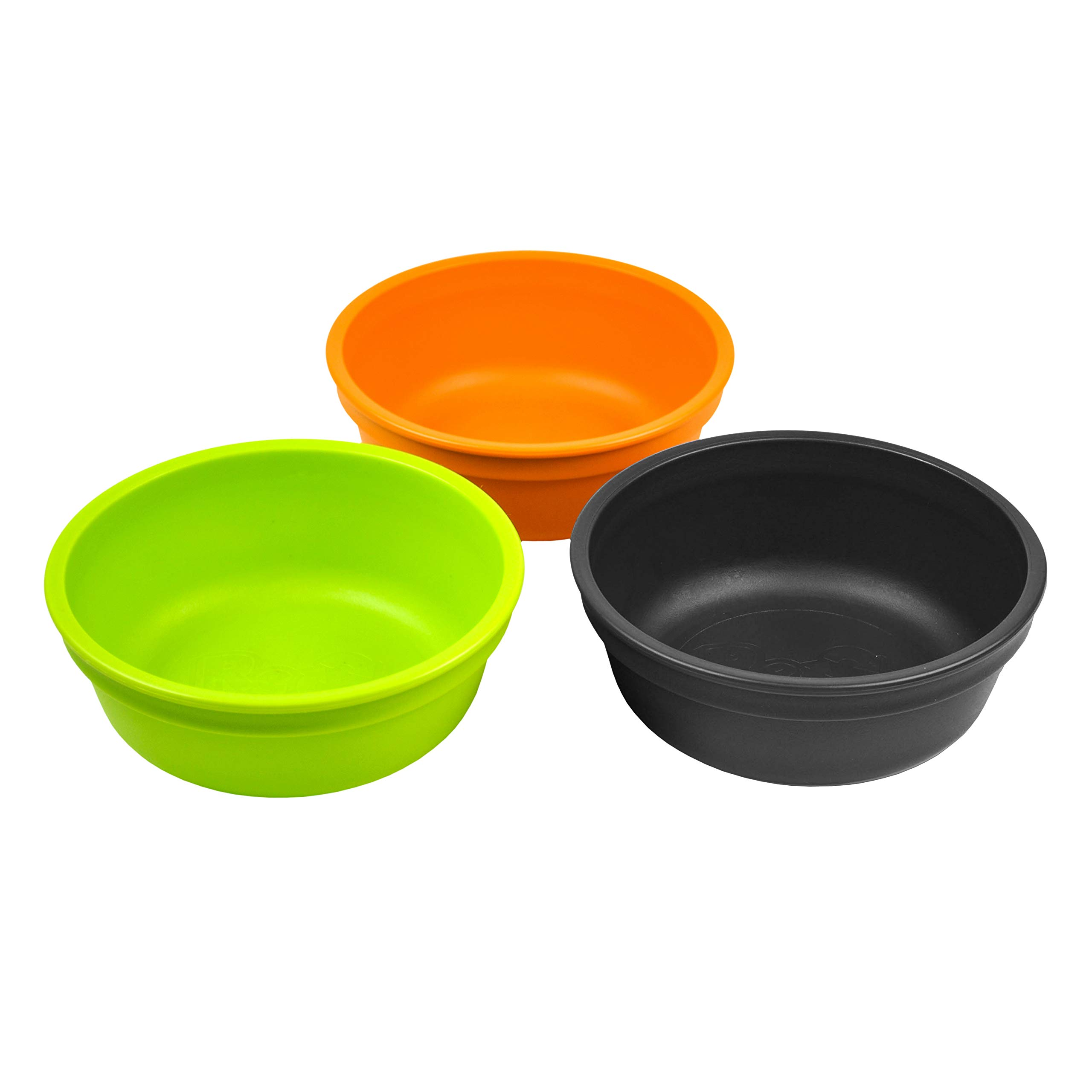 Re-Play Made in USA 3pk 12 oz. Bowls in Orange, Black and Lime Green | Made from Eco Friendly Heavyweight Recycled Milk Jugs and Polypropylene - Virtually Indestructible (Halloween)