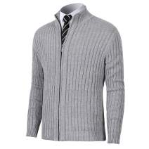 Pioneer Camp Men's Cardigan Sweaters Full Zip Up Stand Collar Slim Fit Casual Knitted Sweater with 2 Front Pockets