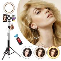 """Selfie Ring Light with Stand, 8"""" Ring Lighting Kit with Tripod & 3 Phone Holders Remote Control for Record YouTube Video Living Streaming Desktop Camera Makeup Selfie Photography Adjustable to 52 Inch"""