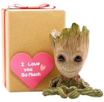 Groot Gifts for Kids, Groot Flowerpot Heart Kids Gift with Greeting Card, Groot Heart Planter Action Figures Pen Pot Holder,Grut Flower Pot Green Treeman Pencil Planter with Drainage Hole by Sgift