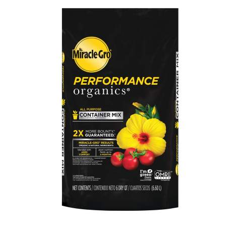 Miracle-Gro Performance Organics All Purpose Container Mix - Organic and Natural Plant Soil, Feed for Up to 3 Months, for Vegetables, Flowers, and Herbs, Use in Indoor and Outdoor Containers 6 qt.