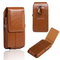 Hengwin iPhone 11 Pouch Case with Belt Clip Holster Case iPhone XR Pouch PU Leather Phone Holster with Belt Loop iPhone 6 Plus Men Belt Pouch with Card Slot (Brown)
