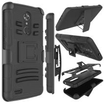 Zenic Compatible with ZTE MAX XL Case, ZTE N9560 Case, Zenic Heavy Duty Shockproof Full-Body Protective Hybrid Case Cover with Swivel Belt Clip and Kickstand Compatible with ZTE Max XL/N9560 (Black)
