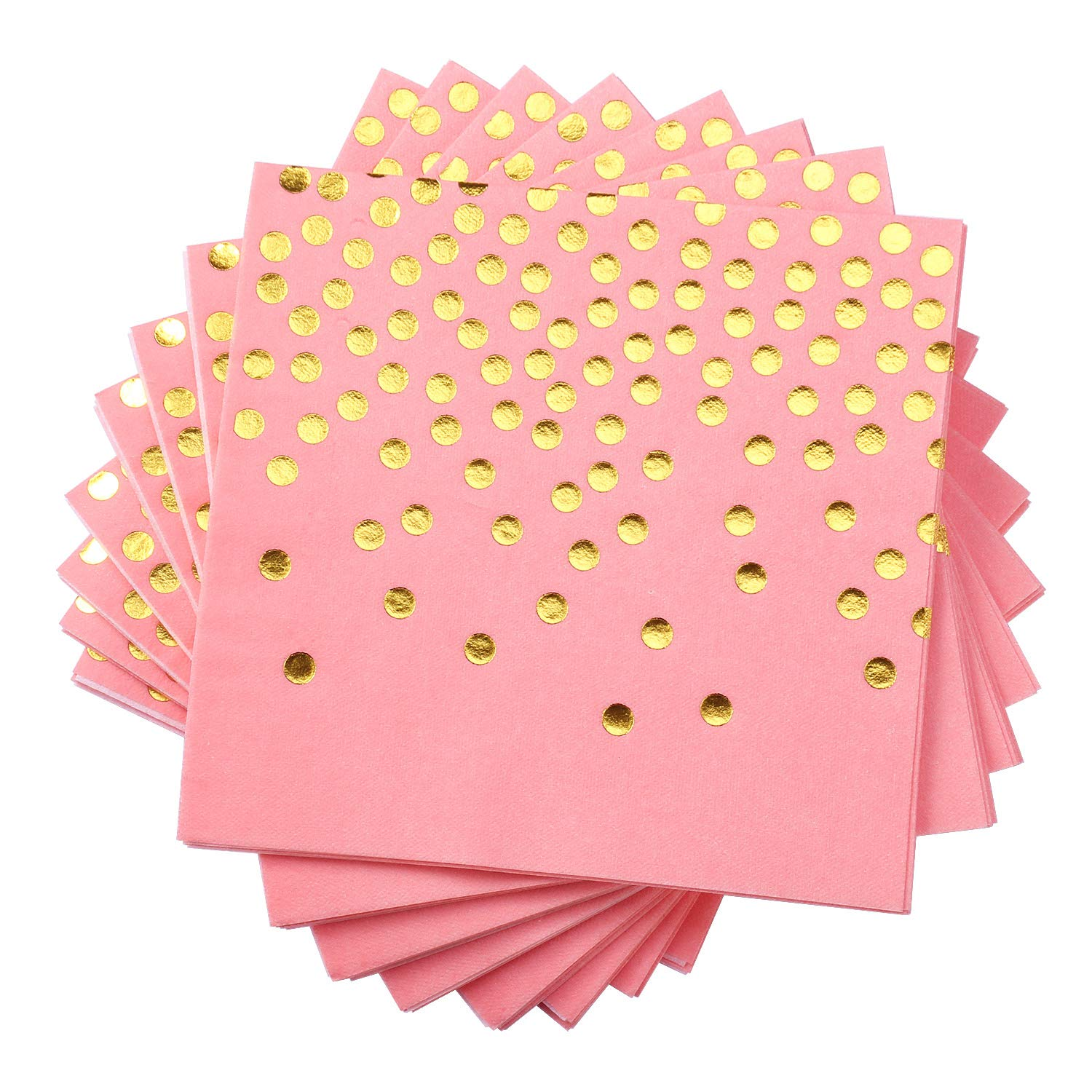 Lekoch Dinner Napkins,Pink with Gold Dots Disposable Cloth Feel Air-Laid Paper Napkin,Stamped with Sparkly Gold Foil Dots,Decoration Paper Hand Towels for Birthday,Party,Banquet,Anniversary,50 Pack