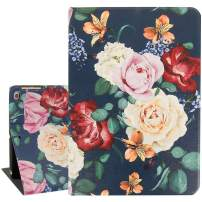 Rose Flower iPad Air 9.7 Case,Vintage Floral Protective Smart Tablet Case Cover for iPad Air 1 and 2 6th 5th Gen 2018 2017 Auto Sleep Wakeup