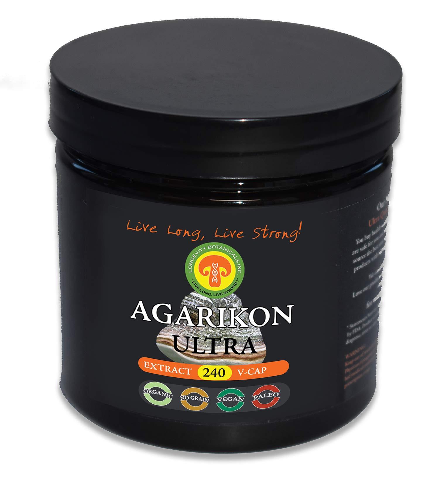 Organic AGARIKON Mushroom Powder Extract: Immunity Longevity Superstar, 240 Vegan Caps, 2 Month Supply, 30% Beta Glucans, Adult Strength, Fruiting Body, No Filler, Reduce Inflammation, Breathe Easier