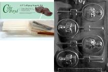 Cybrtrayd Boy Communion Lolly Chocolate Candy Mold with Lollipop Supply Bundle, Includes 50 Sticks, 50 Cello Bags, 50 Gold/Silver Twist Ties and Exclusive Cybrtrayd Copyrighted Chocolate Molding Instructions
