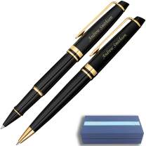 Personalized Waterman Pen Set | Engraved Waterman Expert Rollerball & Ballpoint Gift Pen Set - Black Gold. Custom Engraved By Dayspring Pens.