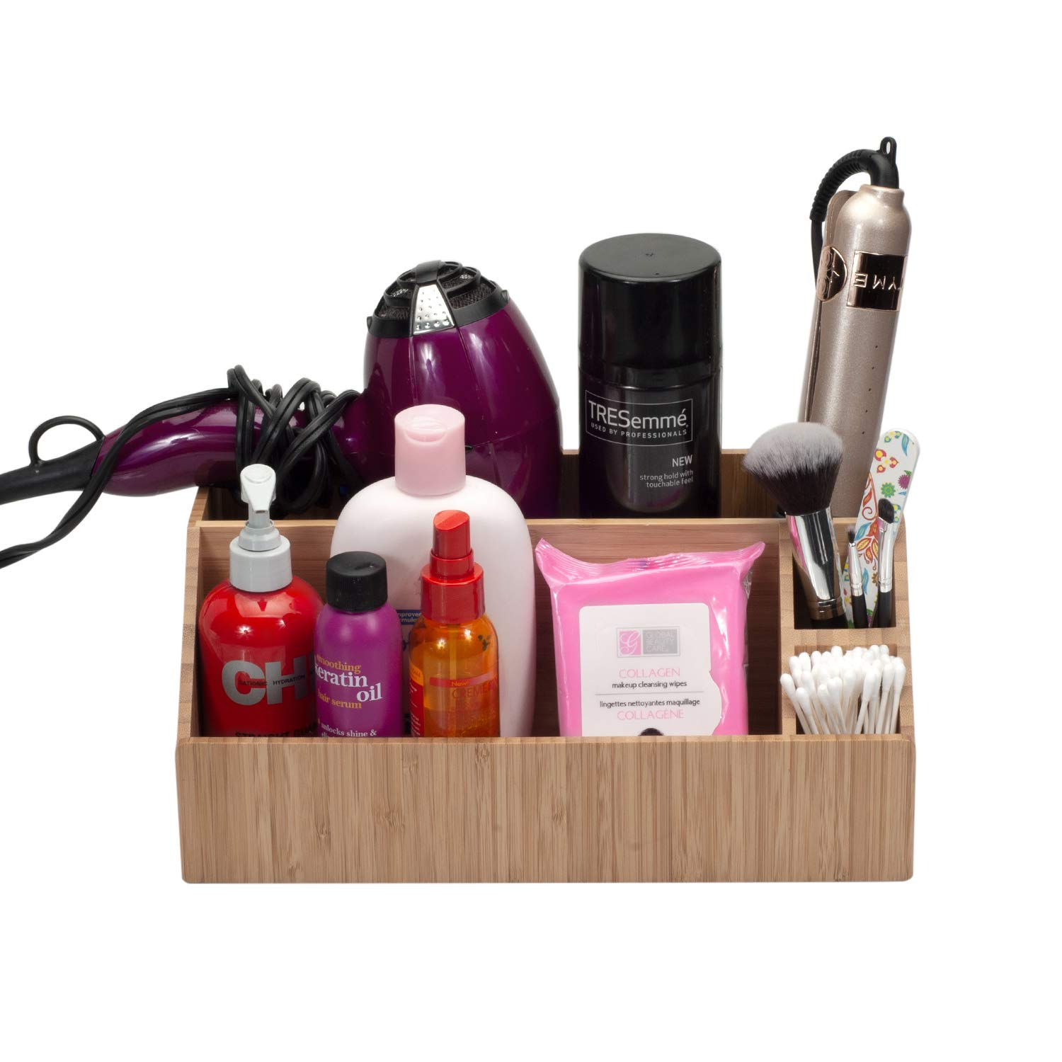 MobileVision Bamboo Make Up Organizer & Cosmetic Holder, Storage on Vanity Counter or Bathroom, Multiple Compartments