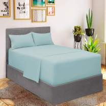 Mellanni Bed Sheet Set - Brushed Microfiber 1800 Bedding - Wrinkle, Fade, Stain Resistant - 3 Piece (for Extra Deep Mattresses, Twin XL, Baby Blue)