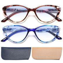 EYEURL 2 Pack Cat Eye Reading Glasses Blue Light Blocking Readers 2.75 Women Spring Hinge Vintage Computer Eyeglass with Colorful Pattern Design