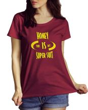 LeRage Honey This Is My Super Suit Tee Awesome & Incredible Red Scoop Neck Shirt Women's