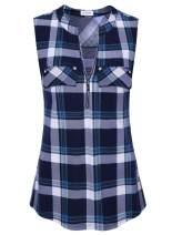 Bulotus Women's V-Neck Casual Tunic Tank Tops Zipper Sleeveless Blouse Shirt