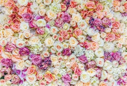 Floral Wall Backdrop 7x5ft Wedding Photography Background Romantic Pink White Purple Roses Flowers Wall Garden Park Plants Nature Baby Shower Girls Birthday Lover Photo Prop Decor Banner