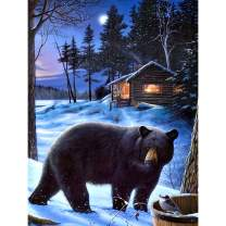 5D Diamond Painting Winter Bear Bird Cabin Full Drill by Number, SKRYUIE DIY Rhinestone Pasted Paint with Diamond Set Arts Craft Decorations (12x16inch)