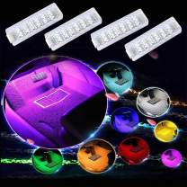 Interior Car Lights - RGB Car Strip Light, 4pcs Footwell Lights - Multicolor Atmosphere Neon Lights,Sound Active Sync Music Rhythm Function and Wireless Remote Control, Car Charger Included