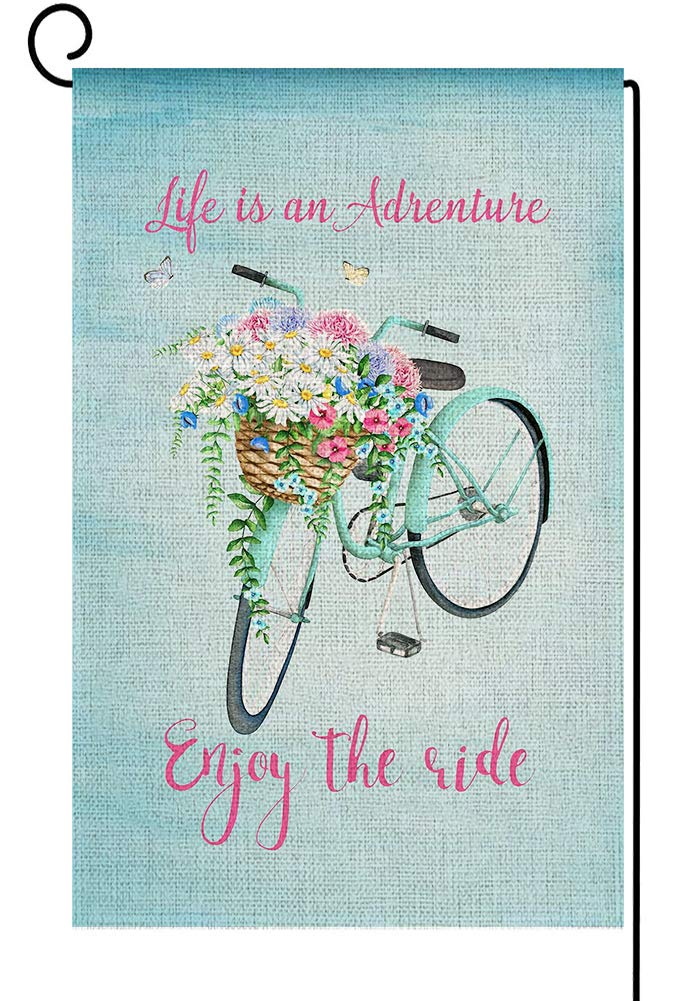 Baccessor Bicycle Garden Flag Spring Summer Vintage Blue Bike Flower Blooms Butterfly Vertical Double Sided Farmhouse Small Burlap Yard Garden Flag Outdoor Home House Decoration 12.5 x 18 Inch