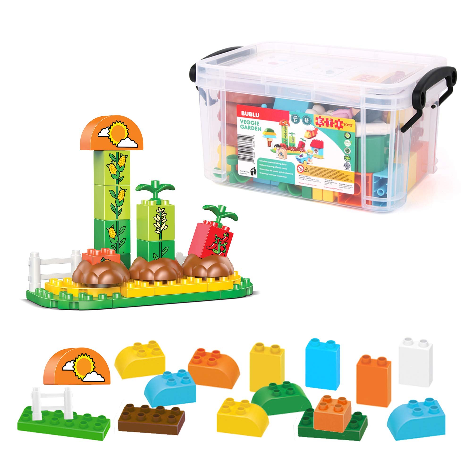 ETI Toys, 55 Piece Bublu Veggie Garden Building Blocks. Build Kitchen Garden, Doghouse, Plants, Barrow. 100 Percent Safe, Creative Skills Development. Toy Gift for 3, 4, 5 Year Old Boys and Girls