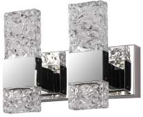 Bathroom LED Crystal Vanity Light fixtures Over Mirror 2 Lights ,Chrome Stainless Steel Vanity Mirror with Wall Light for Bedroom Lighting Fixtures