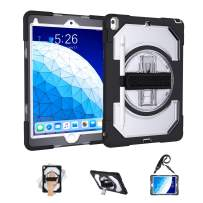 GEEKSDOM iPad 10.5 Air 3 Case with Pencil Holder,Full Body Protection Case with 360 Degree Stand & Hand Strap Shoulder Strap for iPad Air 3 2019 / Pro 10.5 2017(Clear +Black)