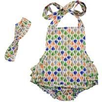 DQdq Baby Girls' Floral Print Ruffles Romper Summer Dress