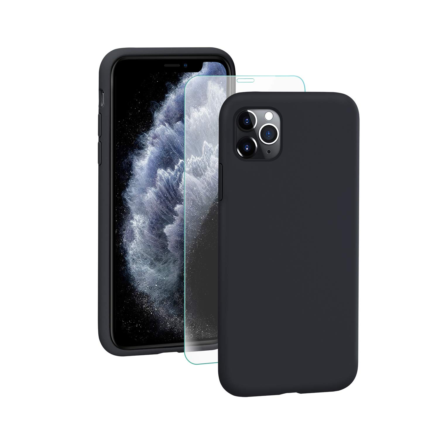 SmartDevil iPhone 11 Pro Max Case,[Fully Protective] Liquid Silicone Gel Rubber Shockproof Case Soft Microfiber Cloth Lining Cushion for iPhone 11 Pro Max- Black