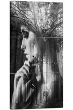 Black and White Wall Decor 3 Piecel Retro Pictures Simple Style Art Work Impression Figure Painting on Canvas Vintage Home Decoration for Living Room Framed Giclee Ready to Hang(24''Wx48''H)