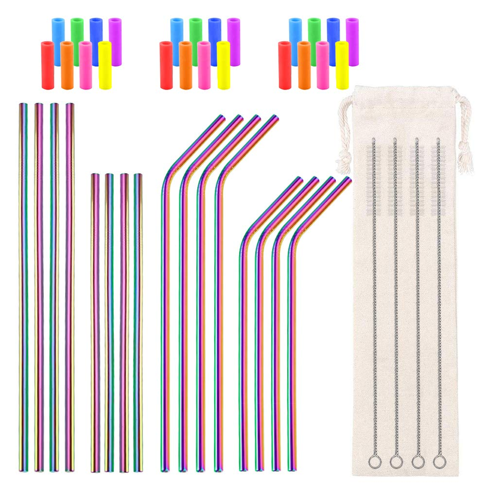 Metal Straws Reusable Stainless Steel Straws Bent Straight Rainbow Colored Drinking Straws for 16 20 24 30 32oz Tumblers, with 24 Silicone Tips 4 Cleaner Brush 1 Pouch (8.5inch and 10.5inch)