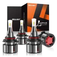 SEALIGHT Laxmas L2 9005 9006 LED Headlight Bulb Kit, High Beam Low Beam, Ultra-thin, 360-degree Illumination, 6000K Daylight Effect, 200% Brightness, Pack of 4