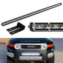 iJDMTOY Behind Lower Grille Mount 25-Inch Ultra Slim LED Light Bar Kit Compatible With 2007-2014 Toyota FJ Cruiser, Includes (1) 72W High Power LED Lightbar & Mounting Brackets + Relay Wire Kit