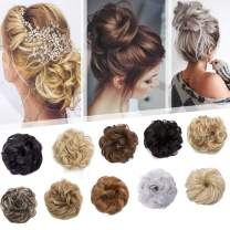 Updo Hair Extensions Synthetic Hair Bun Wavy Donut Bride Scrunchy Messy Hairpieces 2 Pieces 45g/pcs Natural Black-Thicker