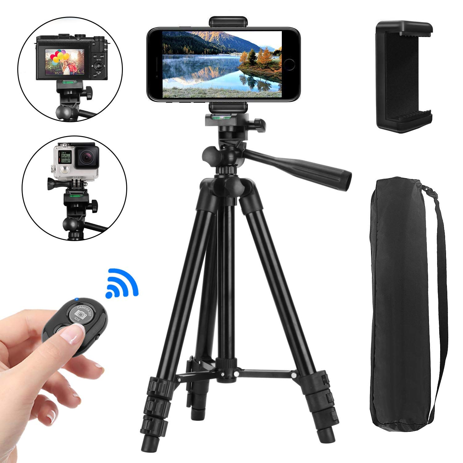 Compact Lightweight Portable Mini Camera Tripod Bluetooth Remote Selfie Stand Lightweight Travel Upgraded Tripod Pink