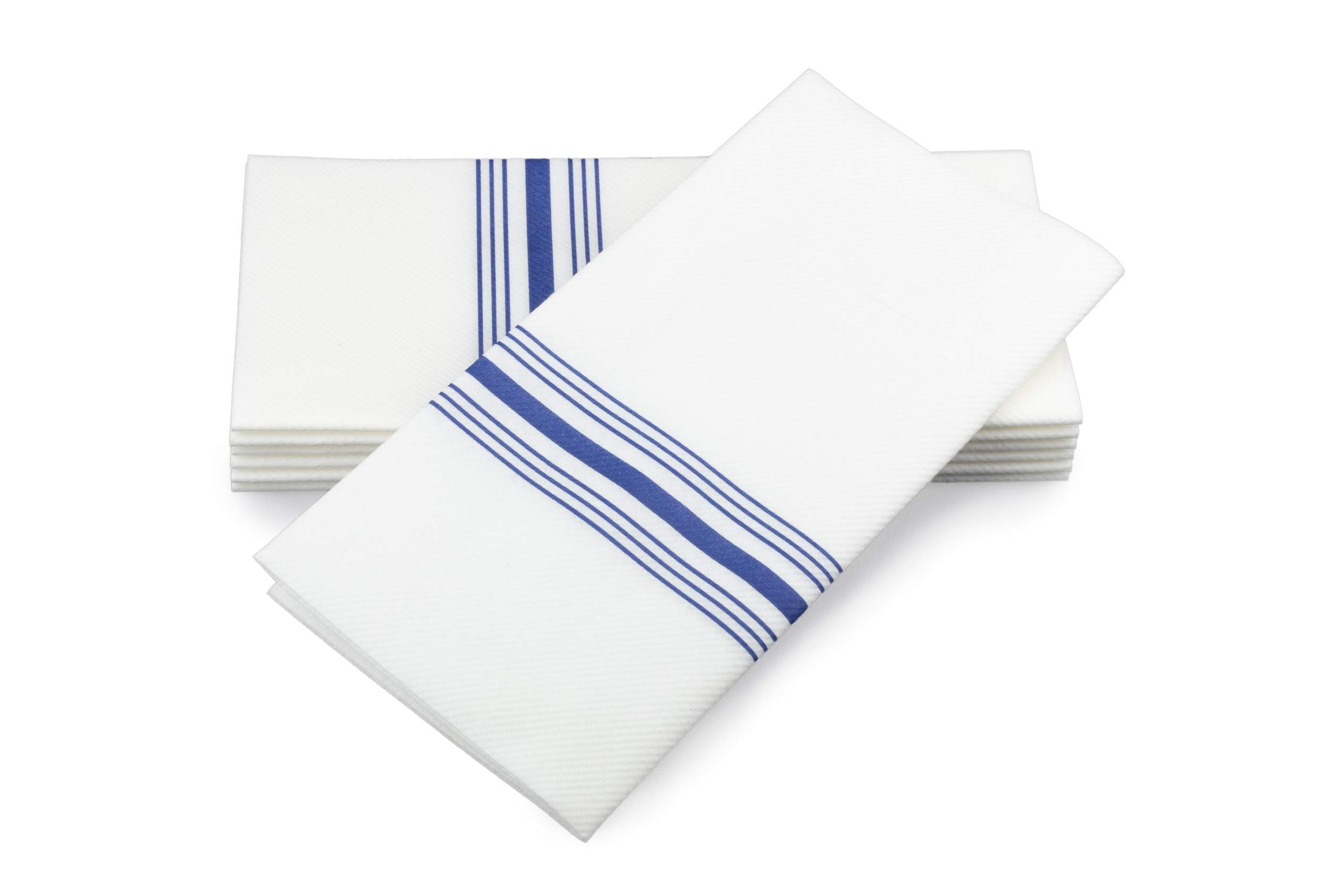 """Simulinen Dinner Napkins - Decorative Napkins - Cloth Like & Disposable Blue Bistro with Pocket - Elegant & Durable - Soft & Absorbent - Large 17""""x17"""" - Packaged for Easy Storage - Box of 75"""