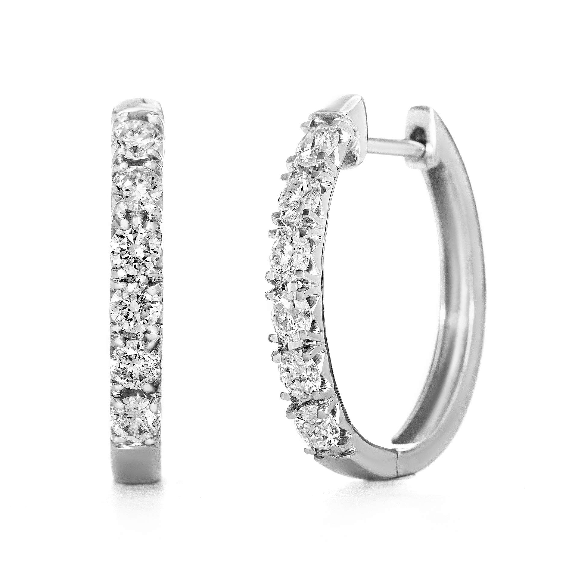 Devin Rose 10K White Gold 1 Cttw Diamond Hoop Earrings for Women (H Color I2 Clarity IGL Certified)