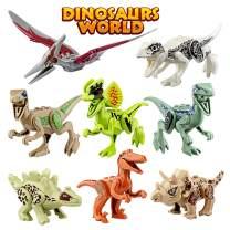 Growland Dinosaur Toys Gifts 8 PCS Dinosaur Building Blocks Mini Plastic Dinosaur Figures Realistic Dinosaur Party Favors Sets for Boys Girls Kids and Toddlers