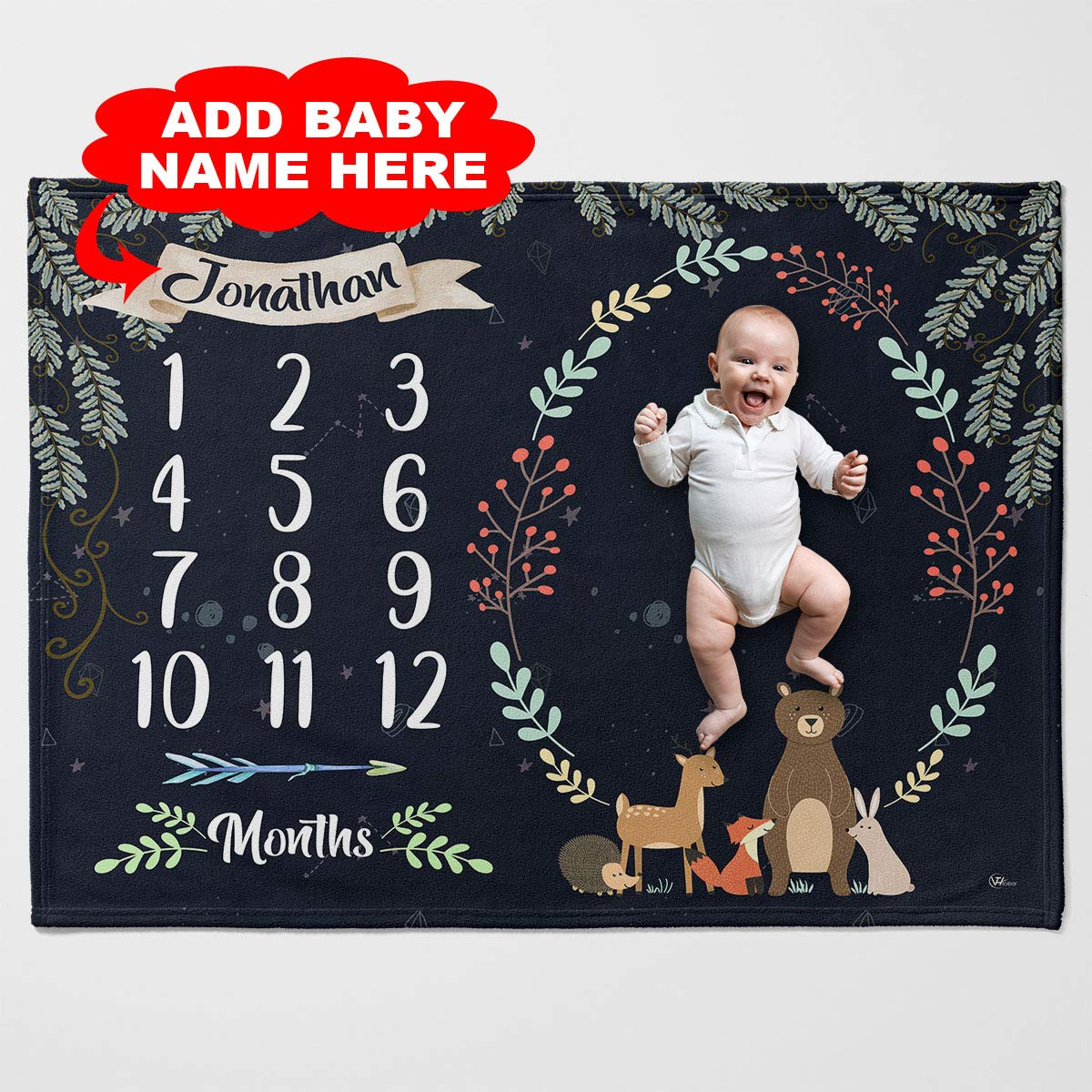 VTH Global Personalized Custom Name Woodland Animal Forest Baby Monthly Milestone Fleece Throw Blanket for Boy Girl Twin Queen Size Age Month Growth Quilt Photo Pictures Tapestry for Newborn Shower