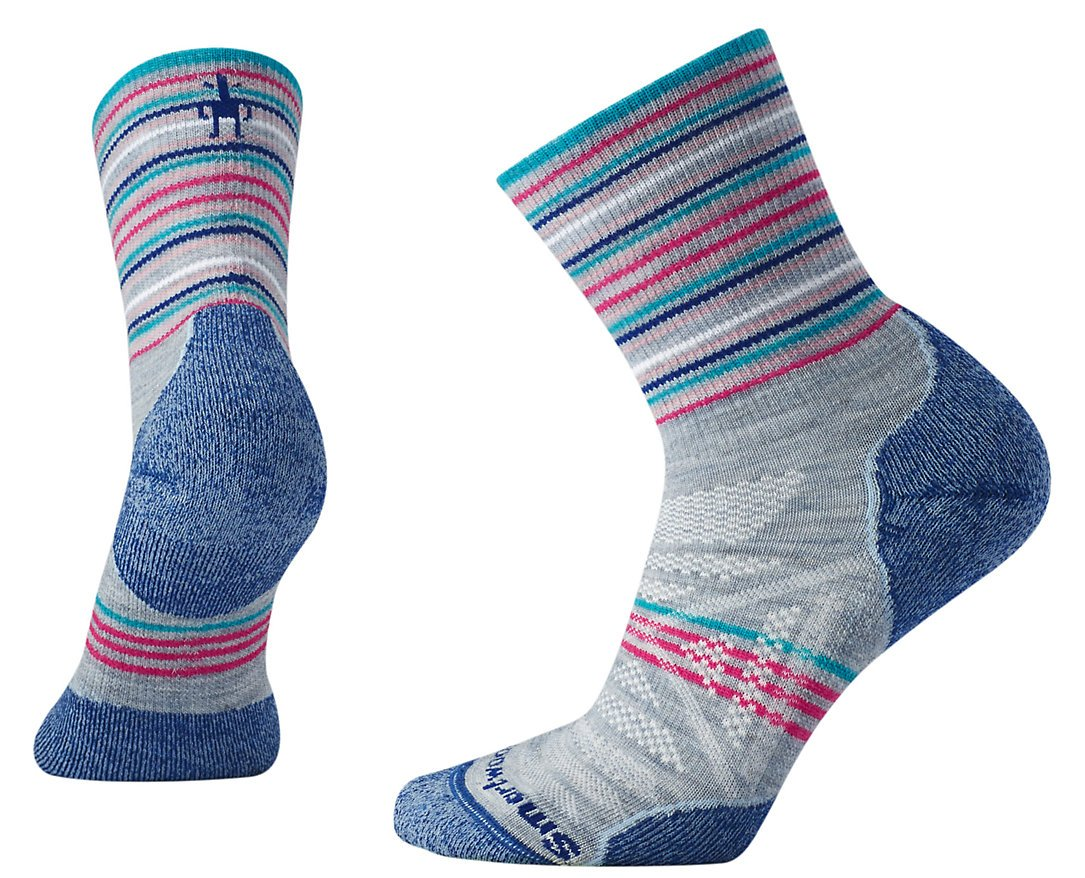 Smartwool Women's PhD Outdoor Light Pattern Mid Crew Socks (Blue Ice) Small