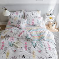 BuLuTu Floral Bird Print Pattern Girls Duvet Cover Twin White Premium Cotton Nature Blossom Colorful Reversible Kids Bedroom Comforter Cover Bedding Sets Zipper for Teen Toddler,NO Comforter