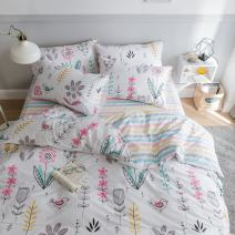 BuLuTu Floral Bird Print Pattern Girls Duvet Cover Twin White Premium Cotton Nature Blossom Colorful Reversible Kids Bedroom Comforter Cover Bedding Sets Zipper for Teen Toddler,NO Comforter