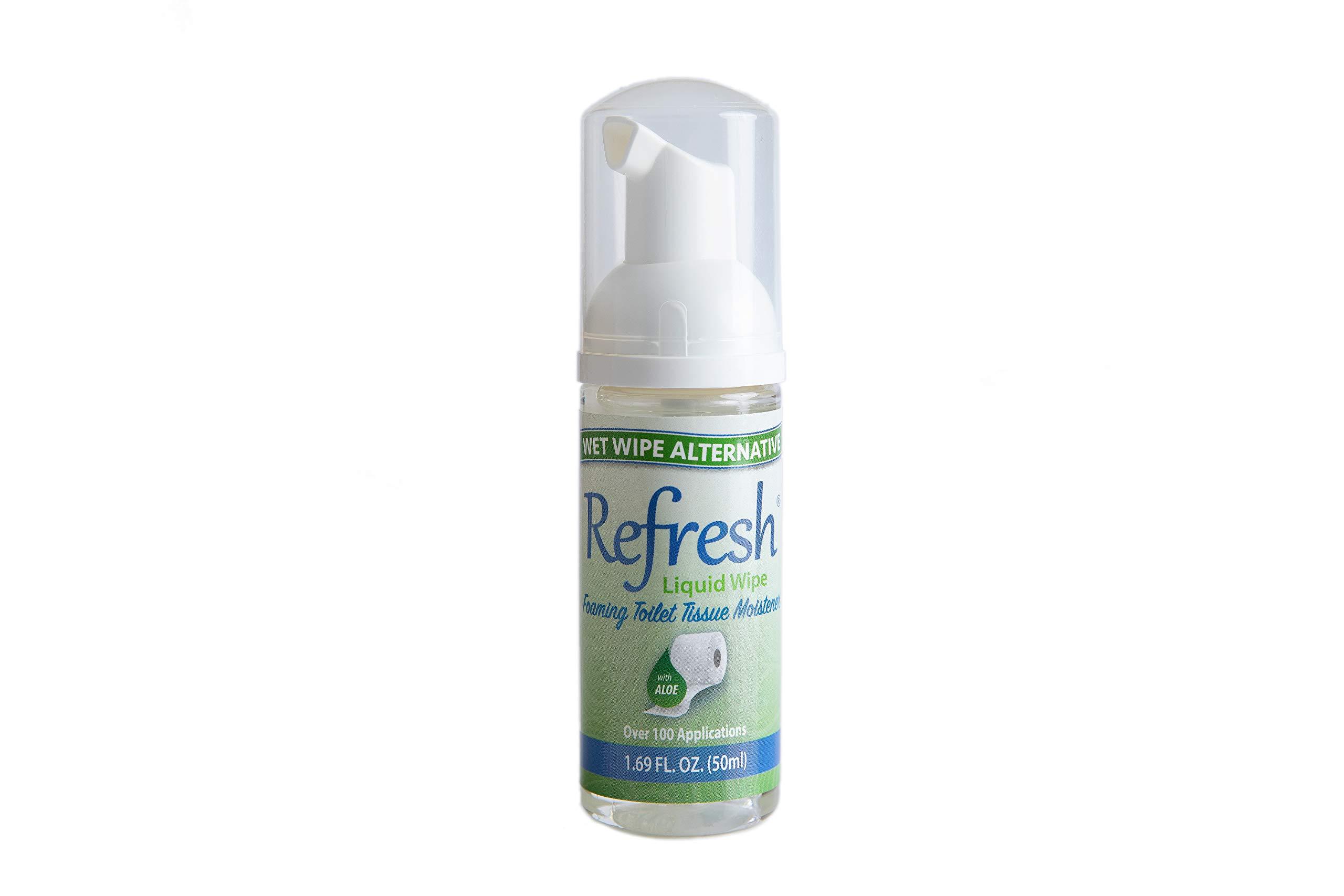 Refresh Liquid Wipe - Wet Wipe Alternative - Toilet Tissue Moistener Foam 50ml (1 Pack). Works on Any Toilet Tissue for a Custom Wipe!